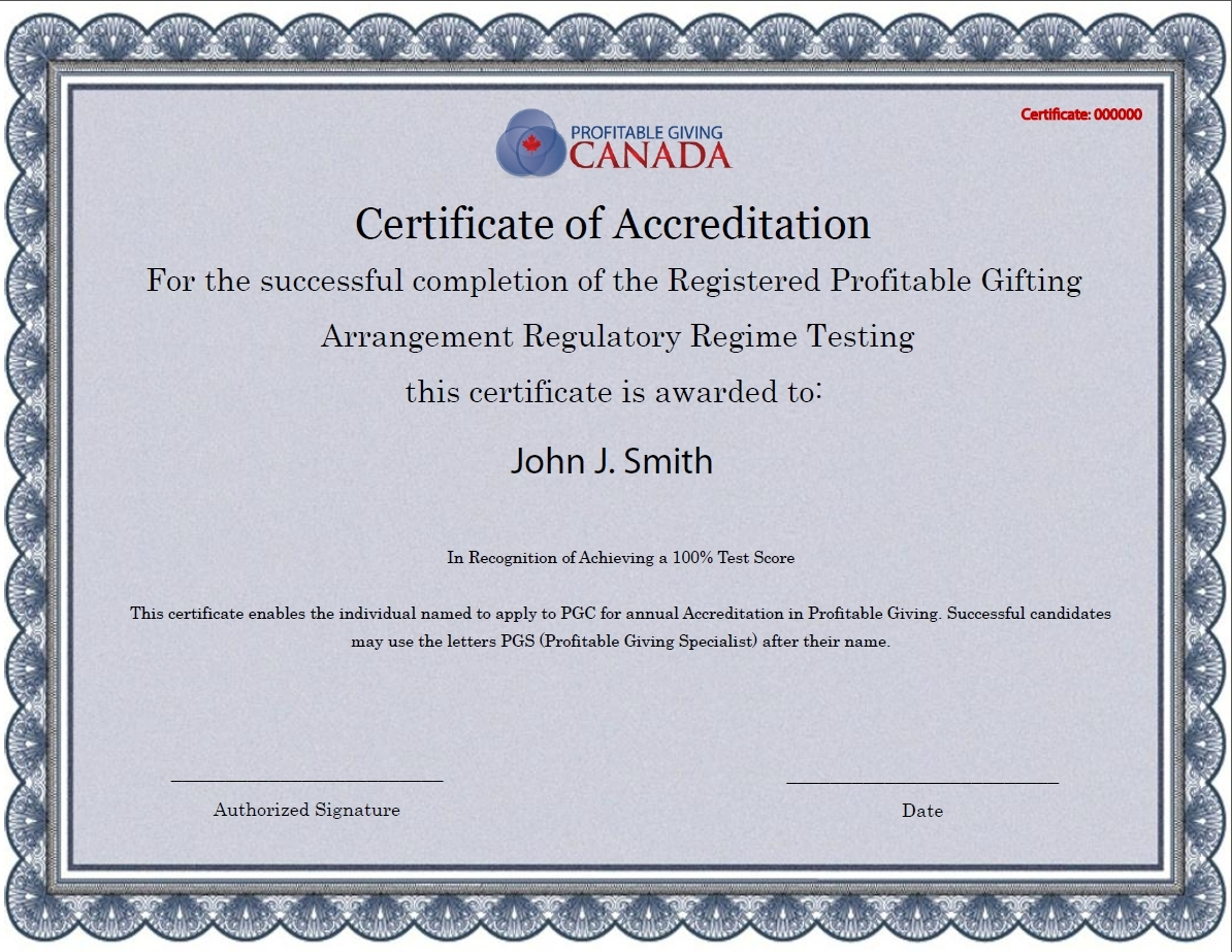 Certificate Of Accreditation Profitable Giving Canada